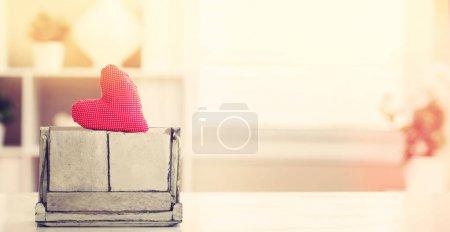 Blank daily calendar with heart cushion