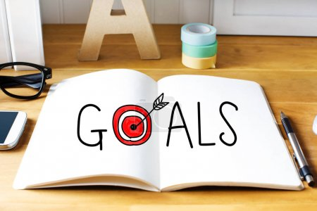 Goals concept with notebook