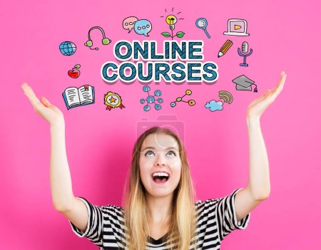 Online Courses concept with young woman