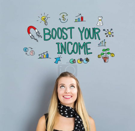 Boost Your Income concept with happy young woman