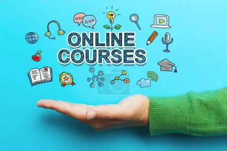 Online Courses concept with hand