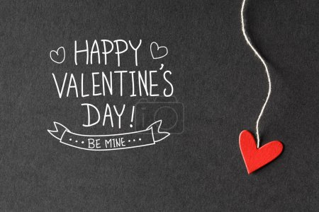 Valentines Day message with paper hearts