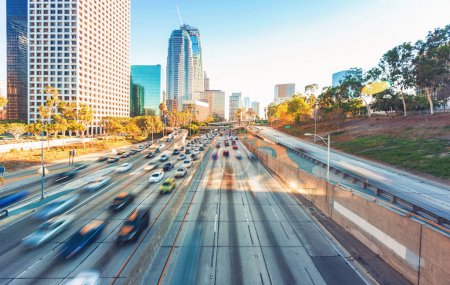 View of Los Angeles highway rush hour traffic
