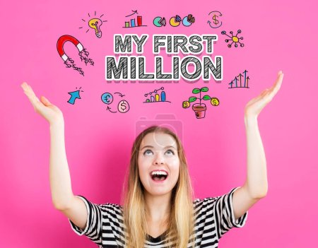 My First Million concept with young woman