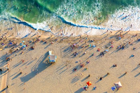 Photo for Aerial view of the beach in Santa Monica, CA - Royalty Free Image
