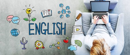 Photo pour Texte en anglais avec l'homme à l'aide d'un ordinateur portable - image libre de droit