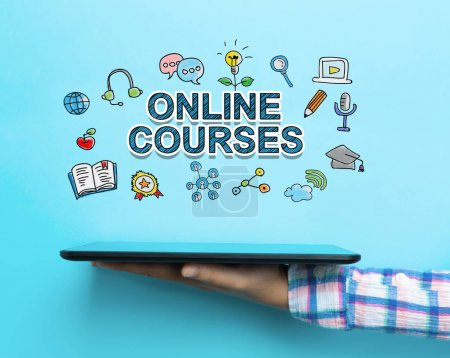 Online Courses concept with a tablet
