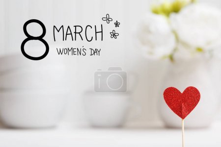 Photo for Women Day message with small red heart - Royalty Free Image