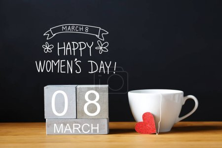 Women Day message with cup