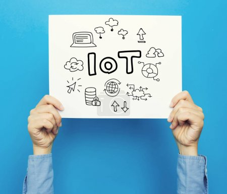 Photo for Internet of Things text on white poster on blue background - Royalty Free Image