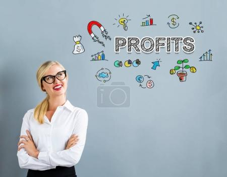 profits text with businesswoman