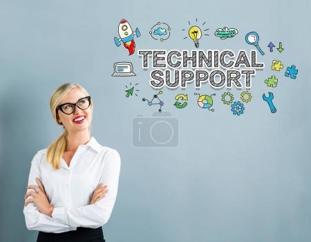 Technical Support text with business woman