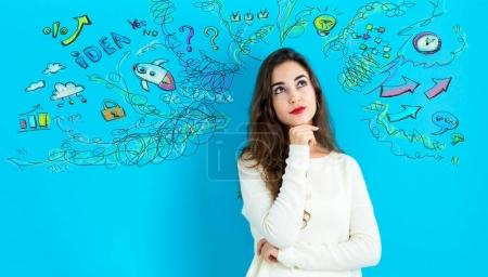 Young woman with many thoughts