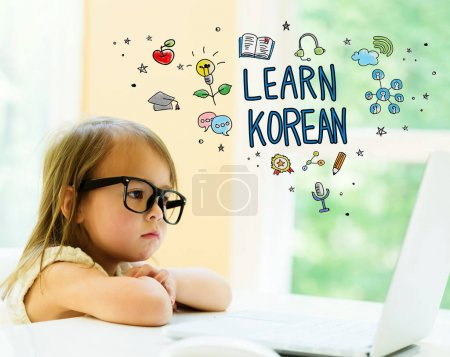 Learn Korean text with little girl
