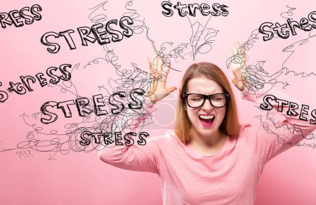 Stress with woman feeling stressed
