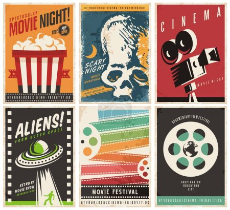 Illustration for Cinema posters collection with different movie and film genres and themes. Creative retro vector design concept with six promotional pamphlets and advertises for cinema show on colorful backgrounds. - Royalty Free Image