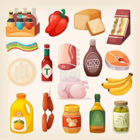 Illustration pour Marchandises et produits alimentaires de tous les jours et autres articles à acheter à la boucherie, épicerie, magasin d'alcool et au supermarché. Isolation des icônes alimentaires pour un mode de vie sain - image libre de droit