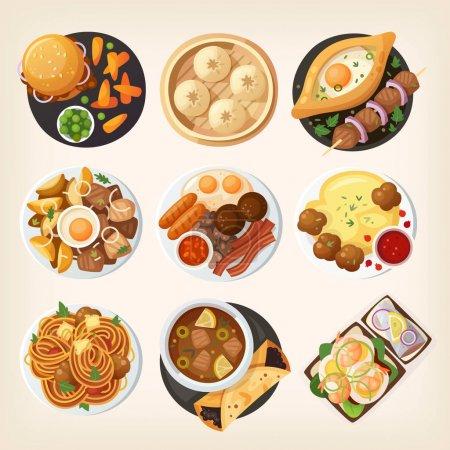 Illustration pour Table à manger en gros plan. Vue de dessus sur les plats classiques de différents pays du monde. Nourriture des cuisines nationales sur une table. Vue d'en haut . - image libre de droit
