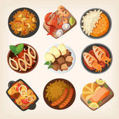 Dinner table closeup Top view on classic dinner dishes from different countries of the world Food from national cuisines on a table View from above Isolated vector illustrations Part 3/3