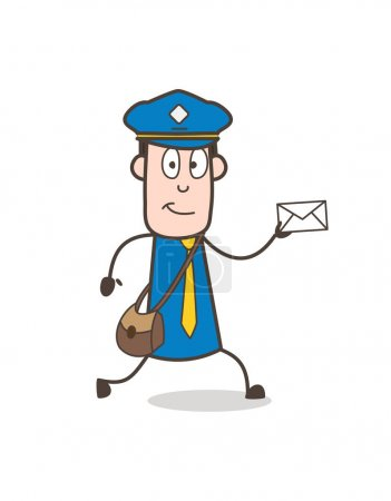 Photo for Cartoon Postman Running with Letter - Royalty Free Image