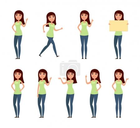 Photo for Set of woman, girl in casual clothes in different poses. A character for your design project. Vector illustration in flat and cartoon style.White background - Royalty Free Image