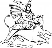 Outlined forensic reconstruction of Mithras slaying of a black bull from 4th century artwork