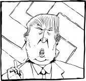 Dec 27 2016 Outlined cartoon caricature of President Elect Donald Trump with swastika behind him
