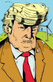 Donald Trump with Windmills and Poop on Shoulder