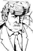 Outline cartoon of Trump with Wind Turbines
