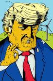 Orange Trump with Wind Turbines Behind Him