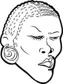Outlined Black man with makeup on half face