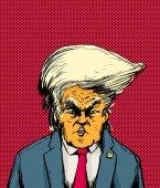 Orange Skinned Trump in Bouffant Hairdo
