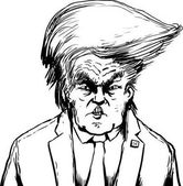 Outlined Donald Trump in Bouffant Hairdo