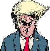 Donald Trump in Bouffant Hairdo Over White