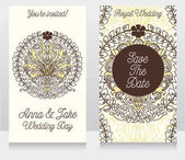 Wedding cards with beautiful baroque ornament