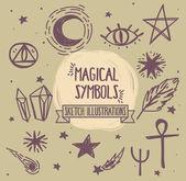 Sketch magic symbols set of vector illustrations