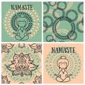 Set of cards for yoga and abstract seamless patterns in indian style vector illustration