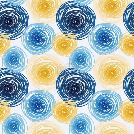 Seamless pattern with colorful circles, van gogh artistic style