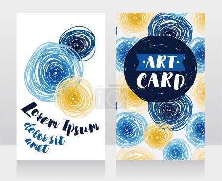 templates for business cards with blue and yellow circles
