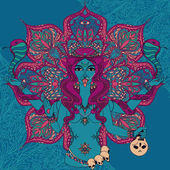 indian goddess Kali with two snakes on traditional mandala round pattern