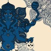 indian goddess Kali with snake skull and mandala round ornament