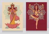 two cards with indian goddess Lakshmi and Kali and mandala round ornament