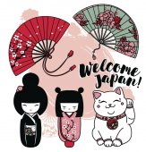Set of cute traditional souvenirs of Japan or another asian countries