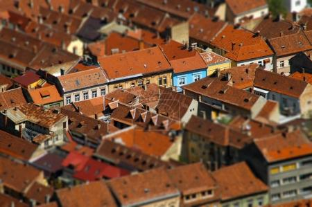 European medieval city view. Miniature tilt shift lens effect