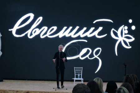 Book Fair on Red Square in Moscow. Poet Evgeny Soya performs on stage