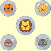 Set of round icons of cat tiger lion leopard in cartoon style