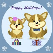 Christmas card with two cute dog corgi sit next to gift boxes in a round frame