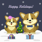 Christmas card with a pair of cute dogs Corgi sitting next to a decorated Christmas tree and gift boxes on a dark background snowflakes
