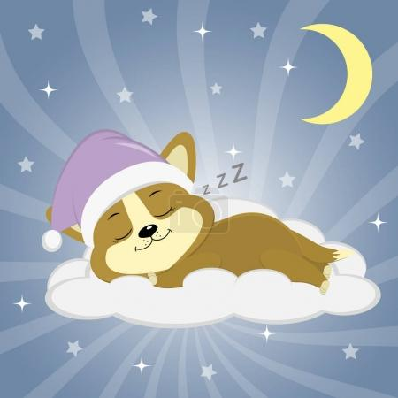 Illustration for Cute puppy Corgi in a pink hat is sleeping on a cloud against the background of the night sky, moon and stars. Style cartoon, flat, vector. - Royalty Free Image