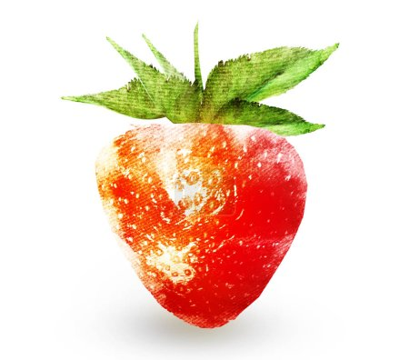 Photo pour Aquarelle de fraise sur blanc - image libre de droit